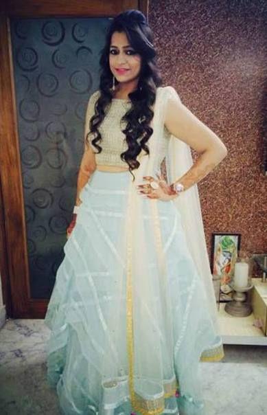 Blue lehenga- lehenga designs- indian semi bridal- cocktail outfits