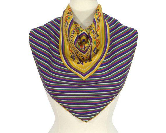 Southwest Vintage 1980s Southwestern Boho Scarf Foulard Silk