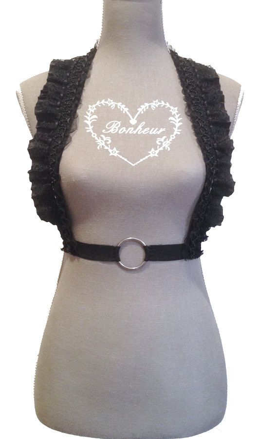 Black Elastic Beaded Lace Underbust/Waist Harness by Pornoromantic