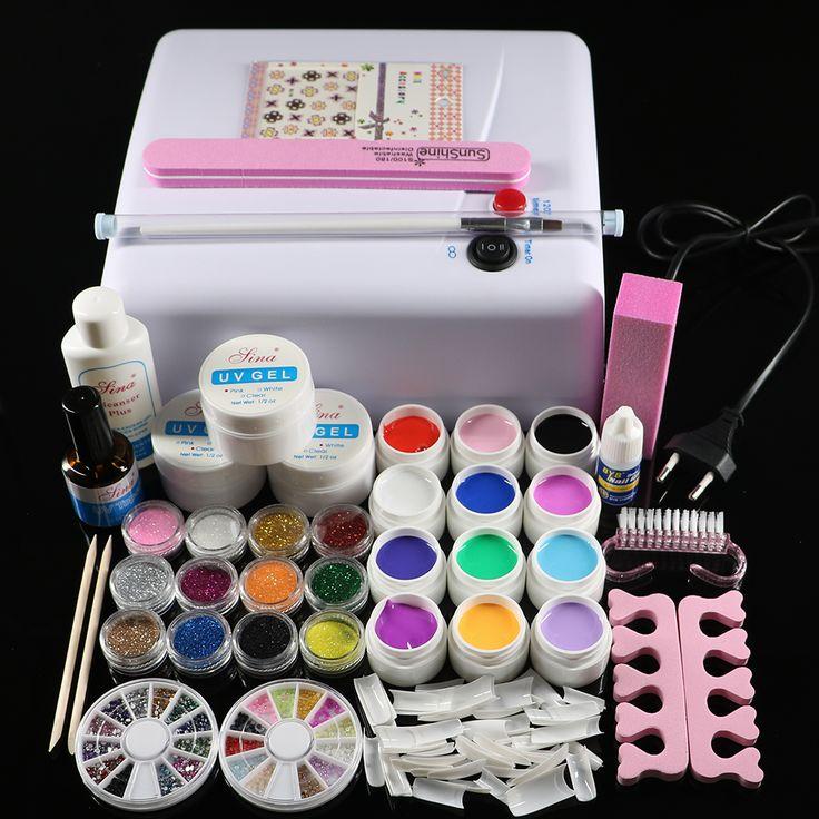 ATT 76 Professional Full Set 12 color UV Gel Kit Brush Nail Art Set 36W Curing. Click visit to buy #Nail #Tool #NailTool