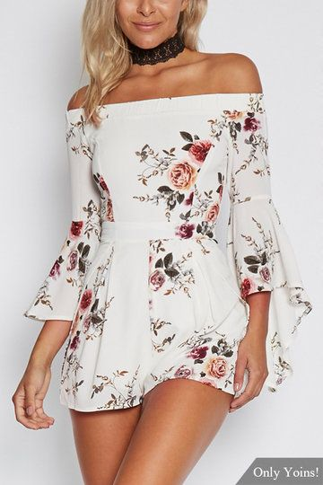 Sexy Random Floral Print Off Shoulder Flared Sleeves Playsuit