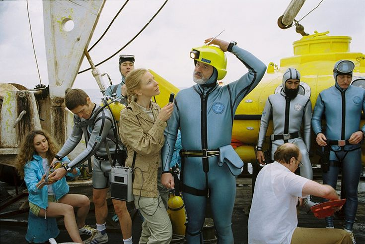 Bill Murray, Willem Dafoe, Cate Blanchett, Bud Cort, Robyn Cohen, Pawel Wdowczak, and Waris Ahluwalia in The Life Aquatic with Steve Zissou (2004)