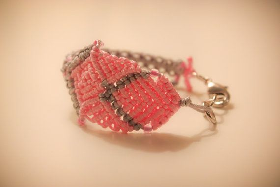 Pink and gray  macrame bracelet with silver catch by CrochetGrace