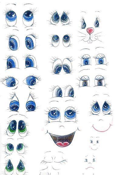 Ojos de fofuchas para imprimir (cute bunny face upper right hand corner!)