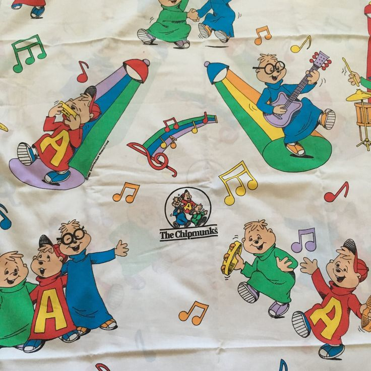 Vintage Alvin And The Chipmunks Twin Flat Sheet 1983 Cartoon David Seville Ross Bagdasarian Sr Burlington American Lifestyle by vintagebaron on Etsy