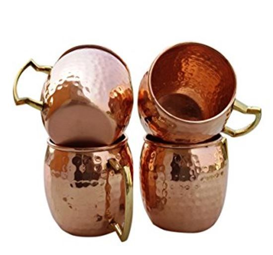Picture of Set of-4, Solid Copper Handmade Hammered Moscow Mule Mugs / Cups , Hammered Moscow Mule Copper Mug Capacity 16 Oz.Copper Mug / Cup