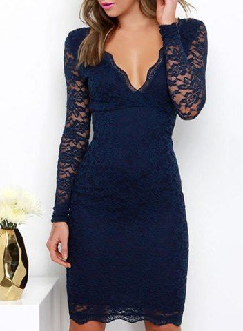 Plunging Neck Women's Navy Blue Lace Midi Dress