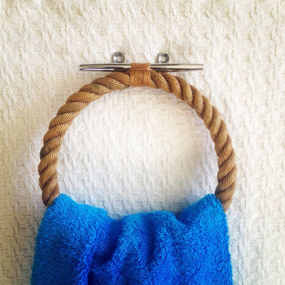 Large Bath or Pool Towel Holder: Varnished Nautical Rope on Stainless Steel Dock Cleat - DIY!!!