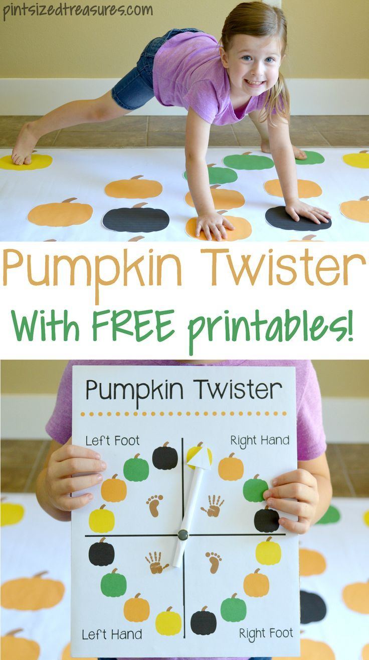 This DIY pumpkin twister game is the perfect fall activity for your preschooler to learn coors, coordination and directions! Free printable included! @alicanwrite