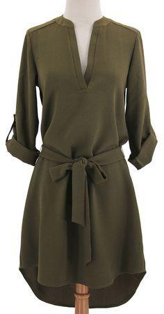Olive belted shirt dress