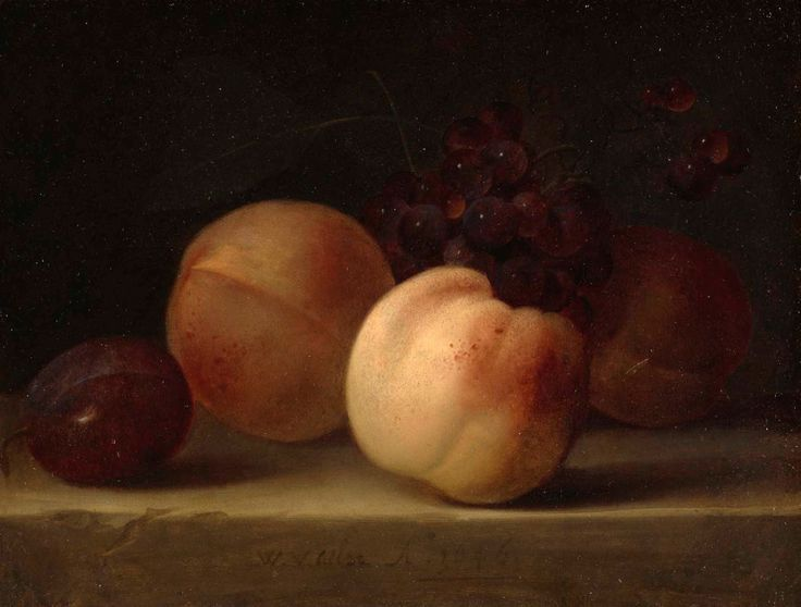 Willem van Aelst (Dutch,1627 – in or after 1683) - Peaches, Grapes, and a Plum on a Ledge, 1646