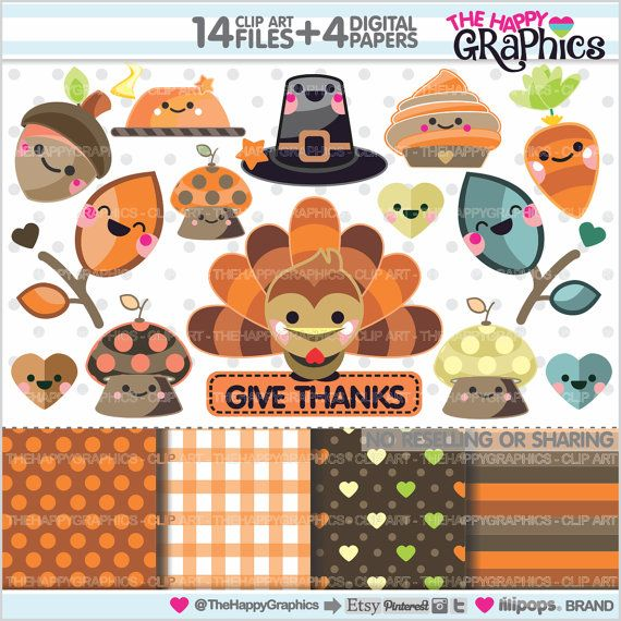 ★New listing! Thanksgiving graphics for COMMERCIAL USE - Kawaii Graphics - Thanksgiving Cliparts