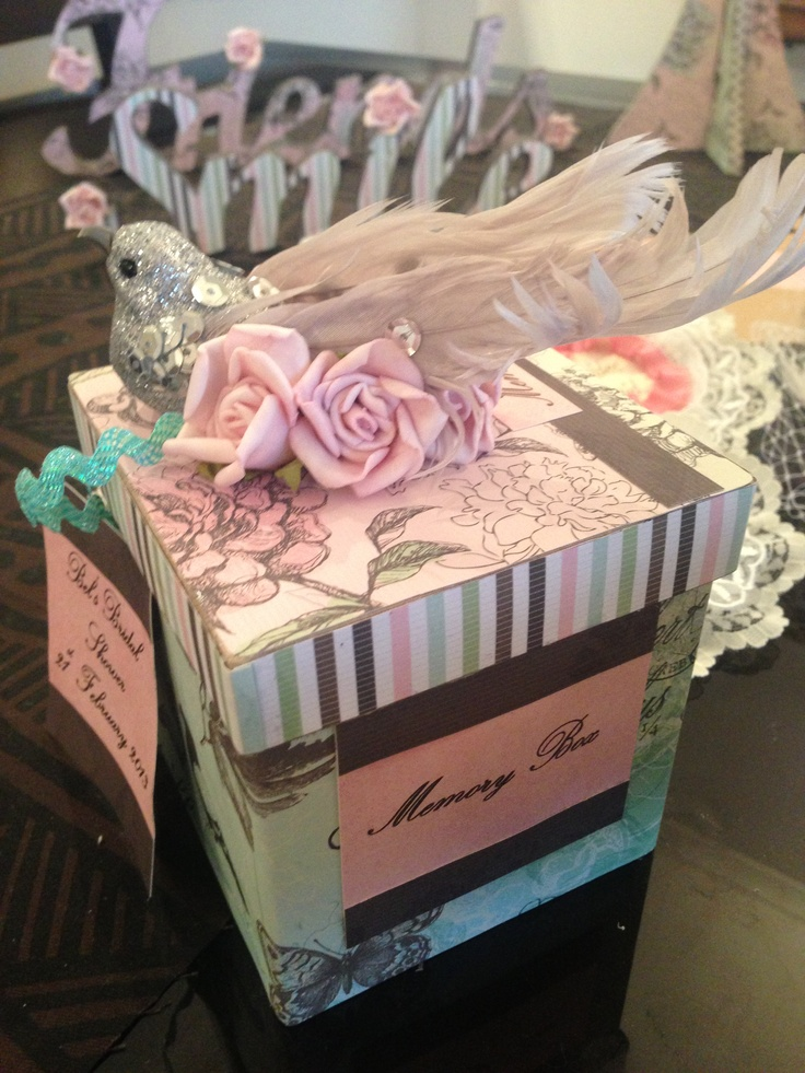 Classy Bridal shower game. Memory Box. Make a lovely keep sake box and have each guest write down a special memory they have of the bride-to-be. Dont sign your name. Have the bride read each out and she has to guess which guest wrote it.