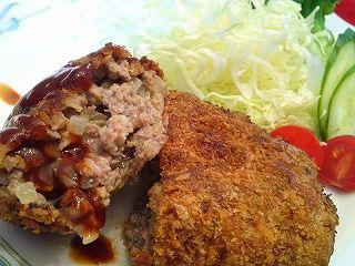 Japanese Food Recipes: Japanese Deep Fried Hamburger Cutlets Recipe (Menchi-Katsu)