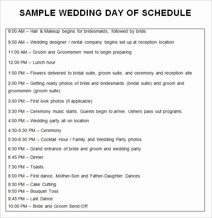 wedding schedule of events template fresh 30 templates samples doc in 2020 timeline day