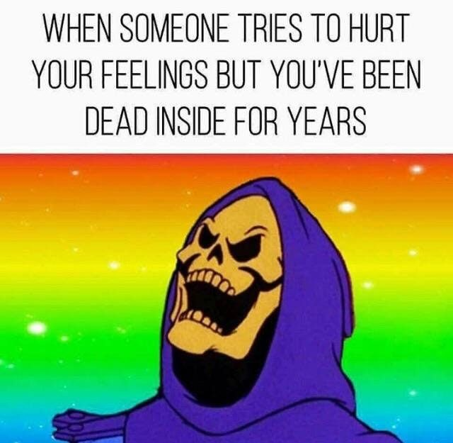 11 - Skelator meme about how someone tries to hurt your feelings but you have been dead for years.