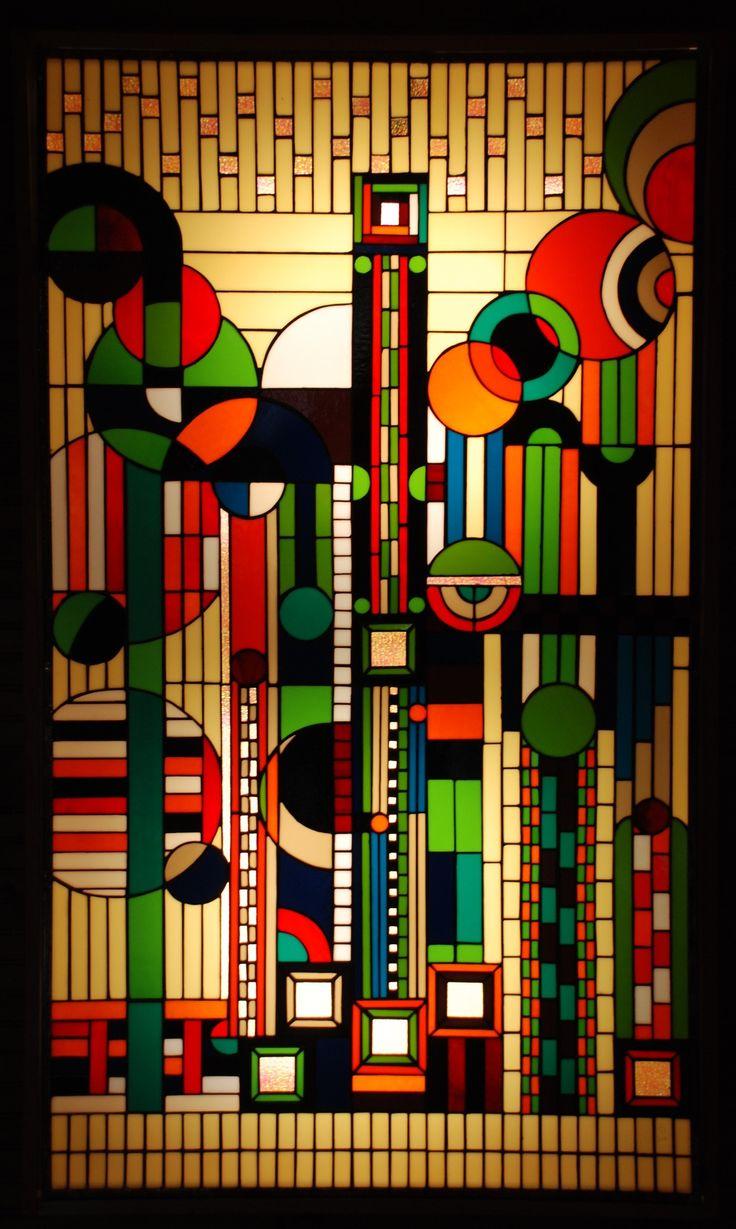 stained glass by Frank Lloyd Wright .   (Source:  stainedglassville )