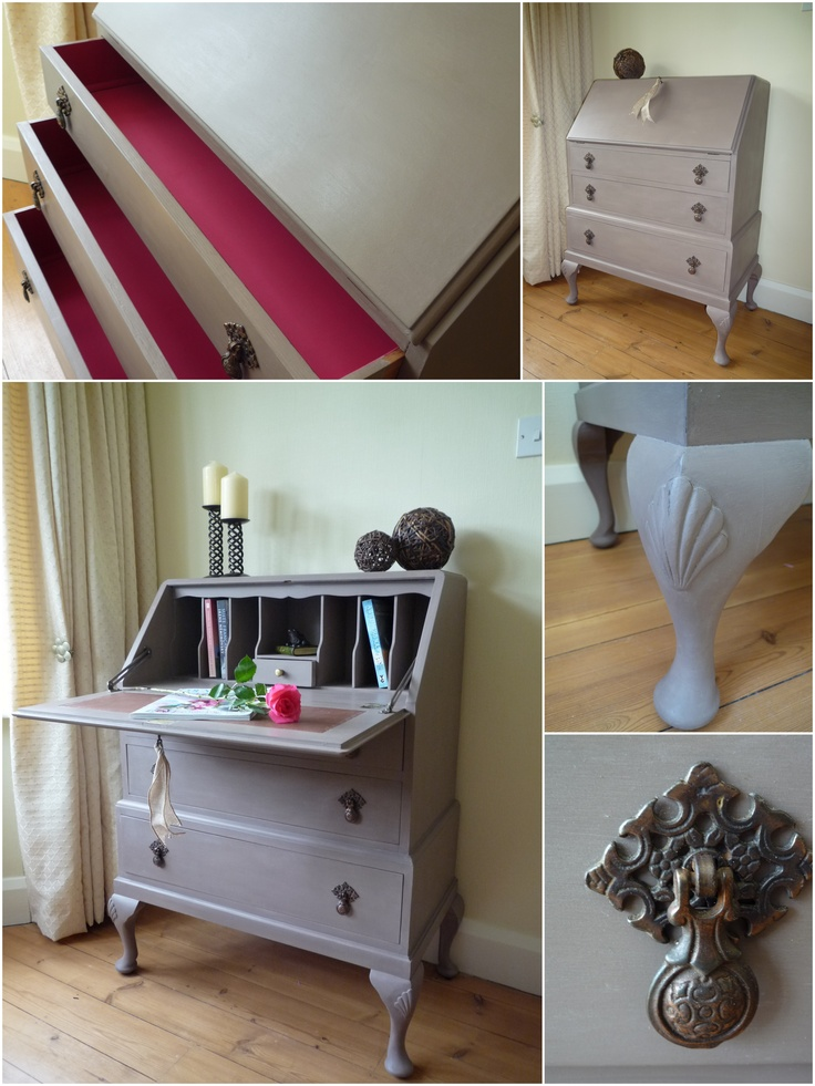 Vintage Bureau painted with Annie Sloan Chalk Paint in Coco, with Emperor's Silk on the inside of the drawers
