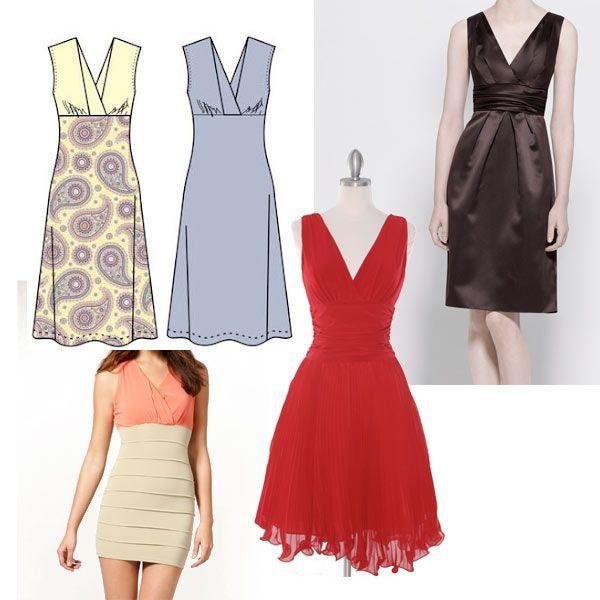 Le patron de couture que je vais vous présenter aujourd'hui est celui d'une robe sans manche, avec un col en V, une taille empire et des bretelles croisées comme sur le dessin de l'illustration. A la