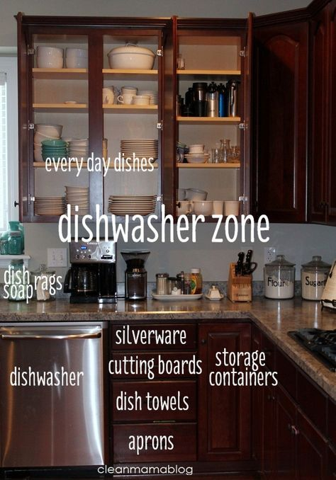 """Simplify your kitchen clean-up and prep by creating """"zones"""". Click through for great ideas on how to efficiently organize your kitchen. Via Clean Mama"""