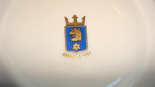 Vintage dish RÖRSTRAND SVERIGE SWEDEN clipper line SHIP Crest gold gilt small http://www.rorstrand.se/