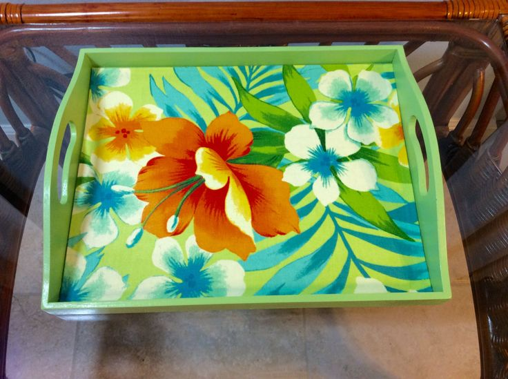 Decorative Wood Serving Tray-Tommy Bahama Sugar Beach Fabric-Beach Decor-Tropical Decor-Shades do green and orange and blue by KelleysBeachDecor on Etsy