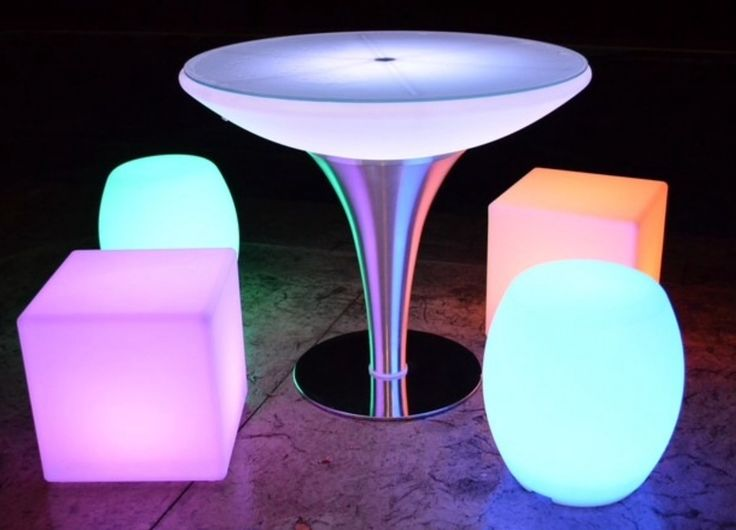 South Beach Led  Round Glass Top Table