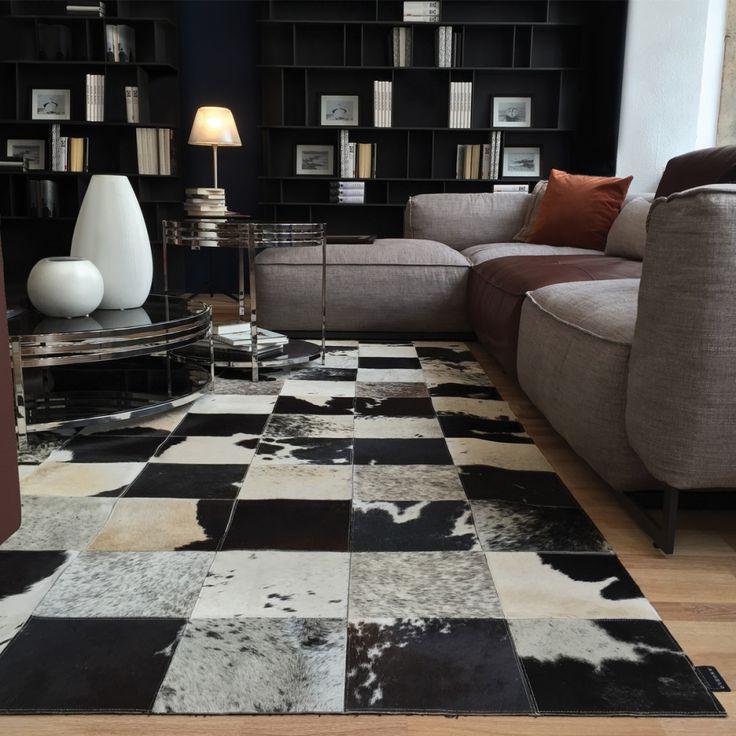 Tapis en peau de vache noir et blanc 100 naturel tapis peau d co vintage - Tapis noire et blanc ...