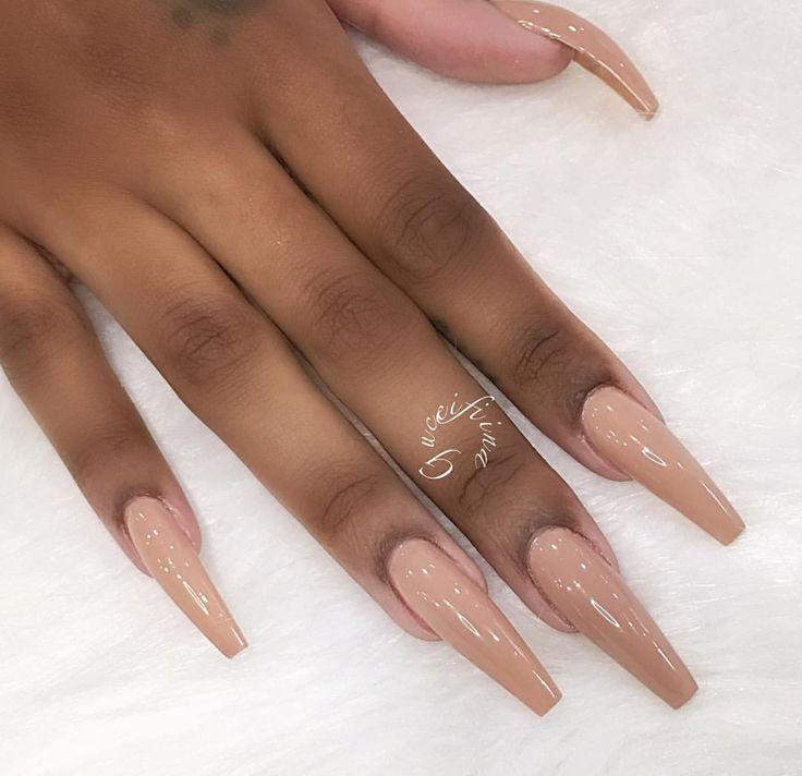 Long tan nails