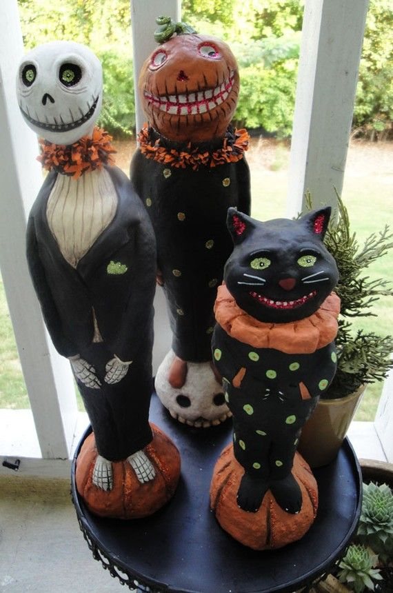 Vintage paper mache halloween decorations images for Papier mache decorations