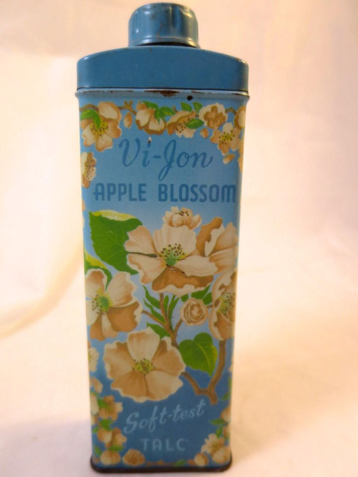 Vintage Talc Tin Turquoise Blue ViJon Tin Apple Blossom  Mid Century Vanity Dresser Item Powdered Talc Tin Collectible Decor 7 x 2 1/4 in by BonniesVintageAttic on Etsy
