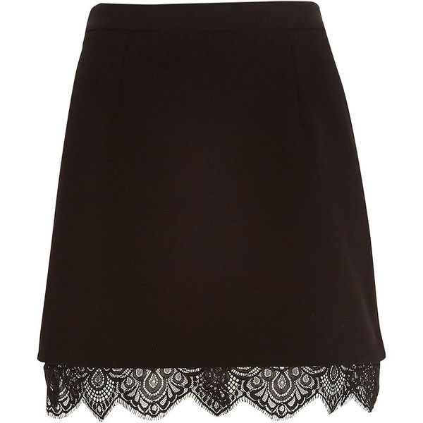 River Island Black lace hem A-line skirt ($19) ❤ liked on Polyvore featuring skirts, black, sale, high rise skirts, lace a line skirt, river island, high waist skirt and lace skirt