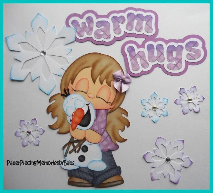 Premade Paper Pieced Warm Hugs Girl and Snowman Set for Scrapbook Pages -by Babs