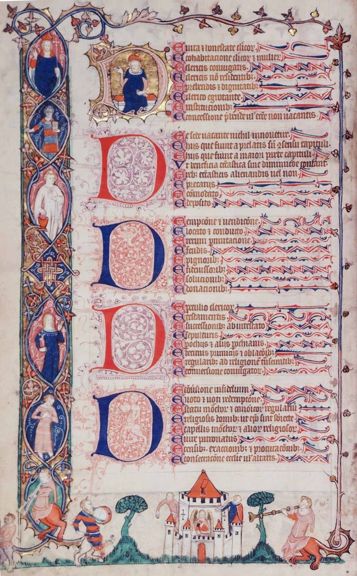 Although the text of this massive volume of canon law - the 'Smithfield Decretals' - had been written in Italy, the manuscript was then lavishly illuminated in England, probably in London, c.1330-40.