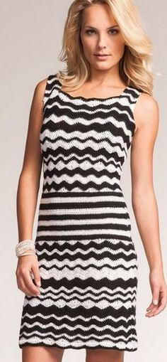 Платье с узором зиг-заг Striped Crochét dress free pattern