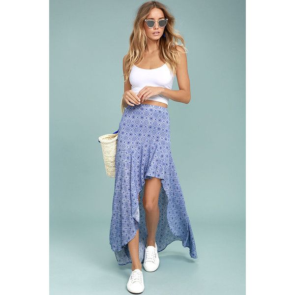 Mediterranean Beach Blue and White Print High-Low Maxi Skirt ($46) ❤ liked on Polyvore featuring skirts, blue, beach skirt, maxi skirts, long beach skirts, high low skirt and ankle length skirts