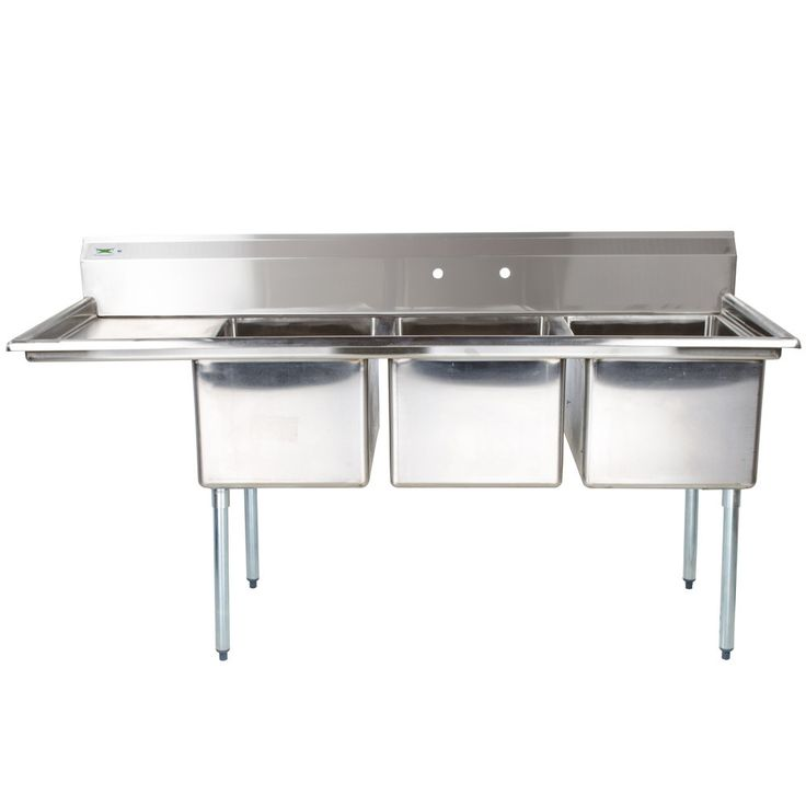 """Regency 16 Gauge Three Compartment Stainless Steel Commercial Sink with 1 Drainboard - 66 1/2"""" Long, 15"""" x 15"""" x 12"""" Compartments"""