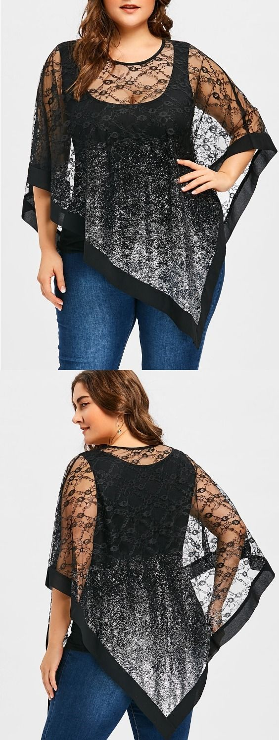 Plus Size Sheer Asymmetric Lace Overlay Blouse