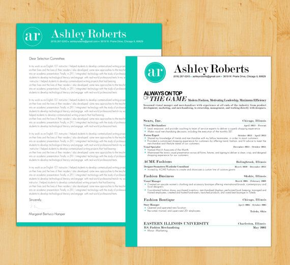 Resume Template Cover Letter Template The Sara By Phdpress: Cool Resumes: Visually Tie Together Your Letter And Resume