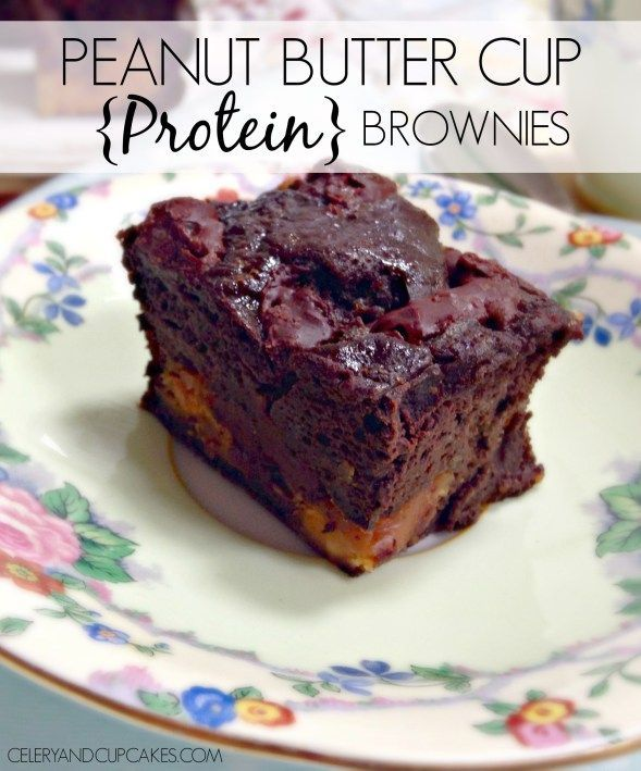 Peanut Butter Cup Protein Brownies - Super fudgy, peanut butter heaven and chocolate indulgence.