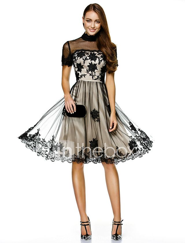 A-Line High Neck Knee Length Tulle Cocktail Party Homecoming Prom Company Party Dress with Appliques Lace by TS Couture® 2017 - $87.99