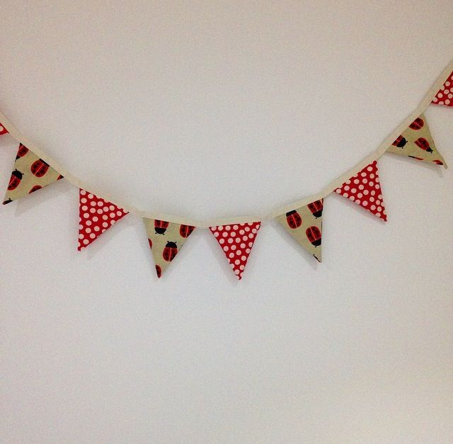 Girls Red Ladybug bunting.. Can also be made with pink or yellow ladybugs
