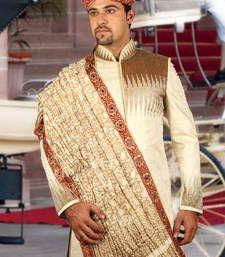 Buy blonde cream brocade embroidered sherwani sherwani online