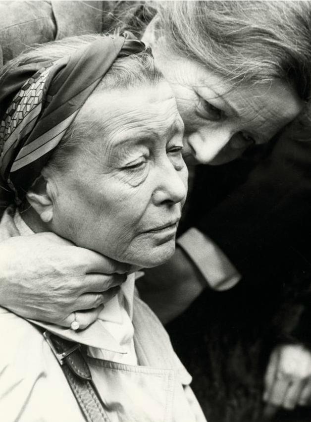 Simone de Beauvoir at the funeral of Jean-Paul Sartre at the Cimetière de Montparnasse, Paris (19th of April 1980).