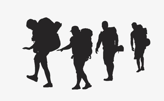 Vector Backpackers Walking Silhouette Walking Knapsack Backpackers Png Transparent Clipart Image And Psd File For Free Download Walking Silhouette Silhouette Silhouette Png
