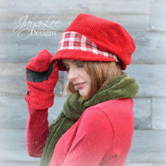 Winter Slouchy Hat Red Corduroy Slouch Visor Beanie Newsboy Cap