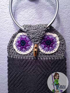 crochet towel top, topper, hanging Owl towel pattern by Misty Makes