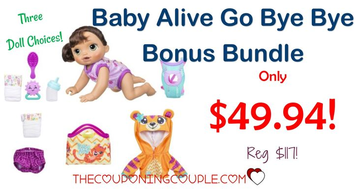 OH BABY! WHAT A BUY! Get the Baby Alive Go Bye Bye Bonus Bundle for only $49.94 (reg $117!) Everything the little mommy needs! Great gift idea!  Click the link below to get all of the details ► http://www.thecouponingcouple.com/baby-alive-go-bye-bye-bonus-bundle/ #Coupons #Couponing #CouponCommunity  Visit us at http://www.thecouponingcouple.com for more great posts!