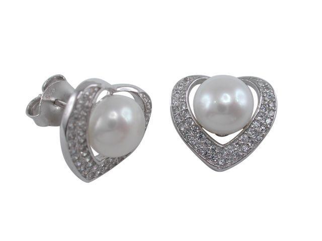Sterling Silver 8mm White Freshwater Pearl & White Cubic Zirconia 13mm Heart Stud Earrings