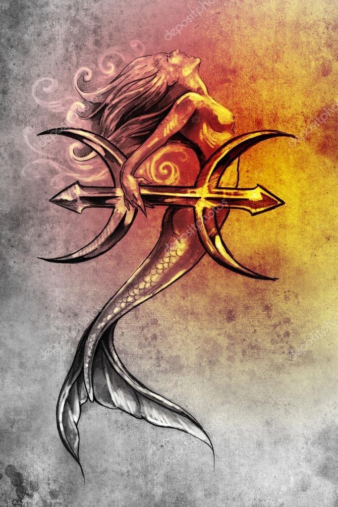 Arte del tatuaje, bosquejo de una sirena, estilo vintage Piscis